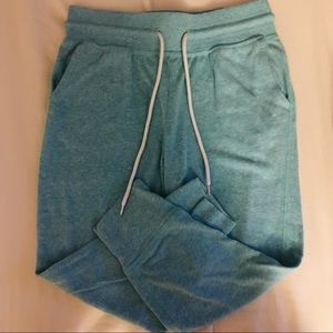 light blue cropped athletic joggers